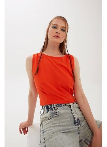 Modaset Crop T-Shirt Oranj Oranj